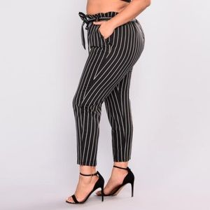 Marcela Pants Fashion Nova Black White Striped